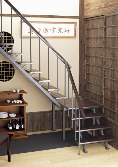 Комбинированная лестница на металлокаркасе на второй этаж 2970-05-3