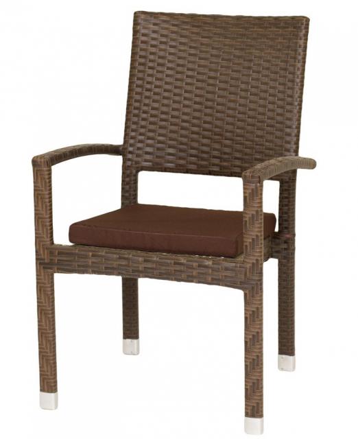 Плетеное кресло из ротанга с подушкой Coffee