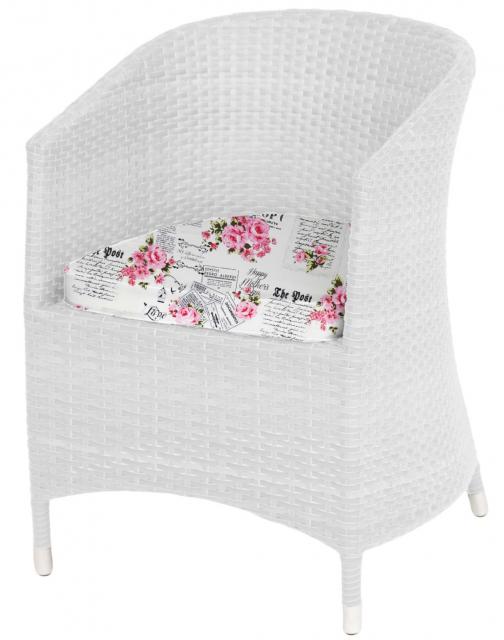 Плетеное кресло с подушками White