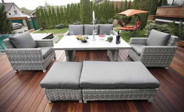 Обеденный комплект садовой мебели из ротанга Set 8