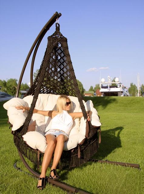 Подвесное кресло-качели коричневое Set 1