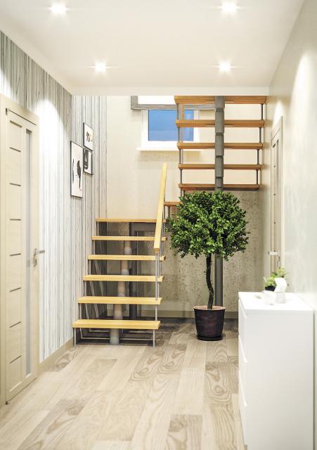 Модульная лестница с поворотом 180° и площадкой 1800-3375