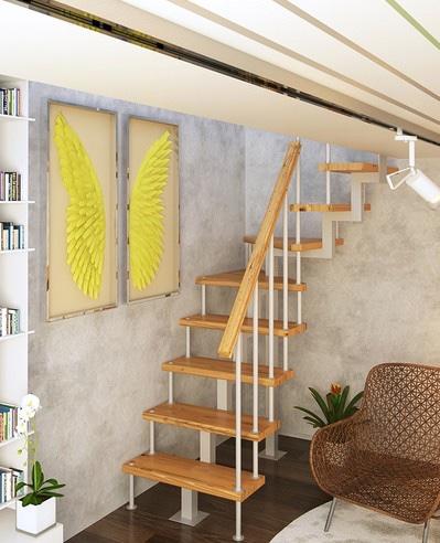 Модульная лестница с поворотом 90° 1800-3375