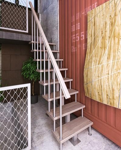 Модульная лестница с прямым маршем 1800-3375